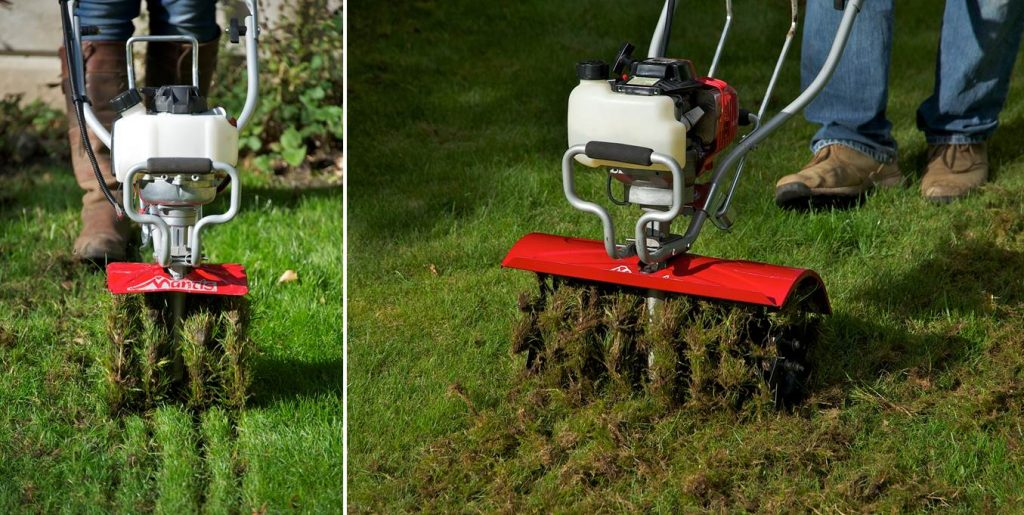 lawncare made easy with a mantis tiller aerator