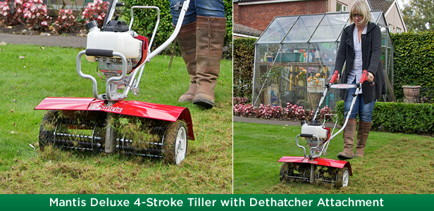 Mantis Deluxe 4-Stroke Tiller with Dethatcher Attachment