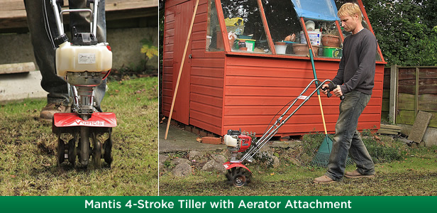 Mantis 4-Stroke Tiller with Aerator Attachment