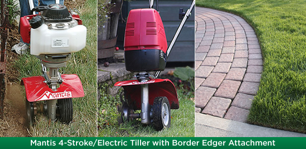 Mantis 4-Stroke/Electric Tiller with Border Edger Attachment