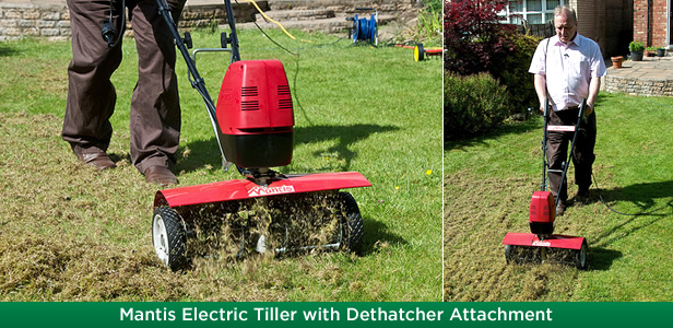 Mantis Electric Tiller with Dethatcher Attachment